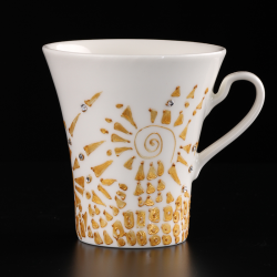 Unique gift idea two hand-painted cups Inspired by Gustav Klimt