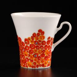 Porcelanowe kubki ręcznie malowane z kryształami Swarovski