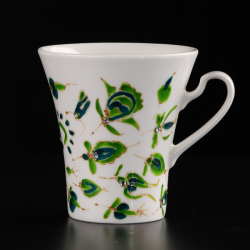 Exclusive porcelain cups Fine Bone China. Thin porcelain ivory