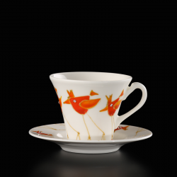 Hand-painted cups Colorful Birds with Swarovski crystals