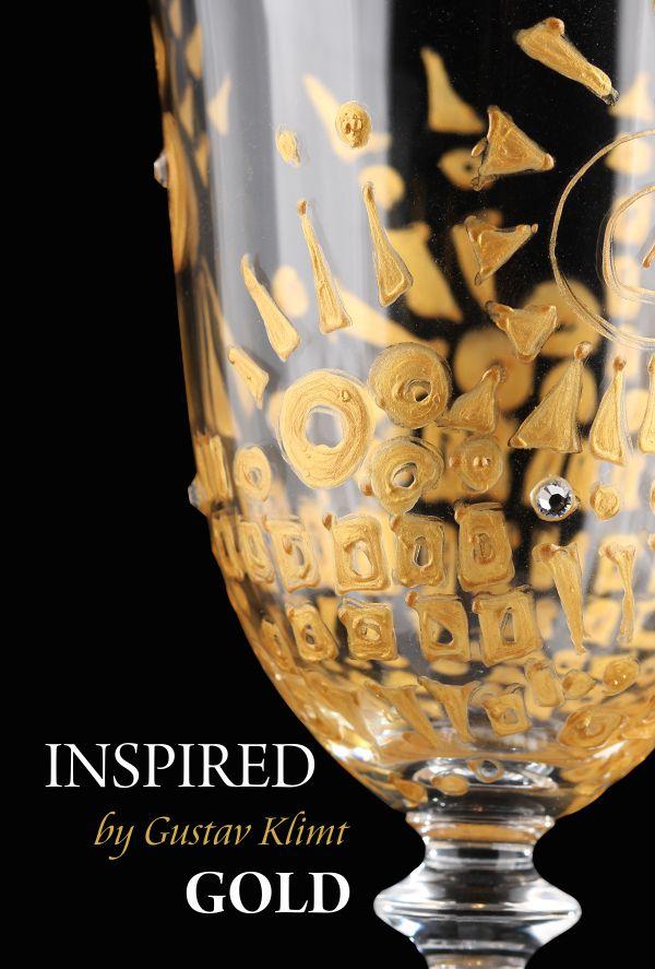 Pomysł na prezent ślubny ręcznie malowane kieliszki inspired by Gustav Klimt